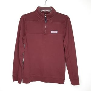 Vineyard Vines burgundy quarter zip sherp  sweater